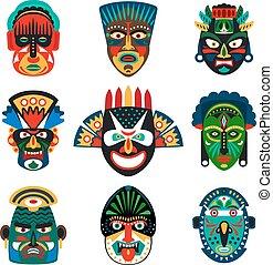 Tribal masks set - Tribal indian or african colorful masks...