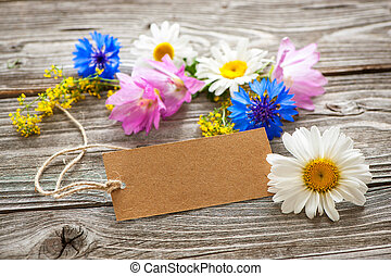 Wild Flowers with a vintage tag
