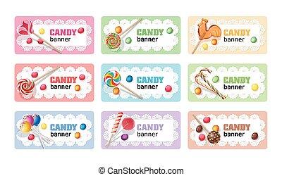 Set of sweet lollipop vector banners.