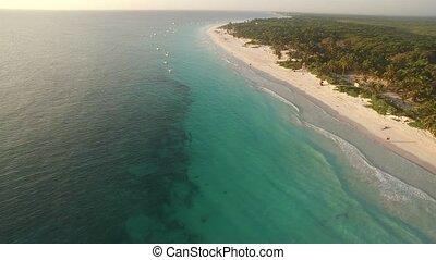 aerial view of a caribbean beach