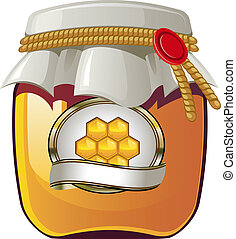 Honey jar - Vector illustration of Honey jar over white. EPS...