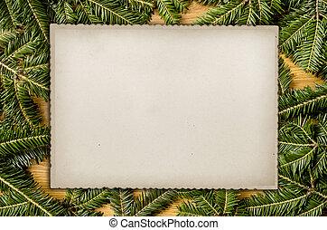 Christmas tree frame and card. - Christmas tree and card....