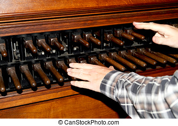 Man playing a carillon in Dordrecht cathedral - Man playing...