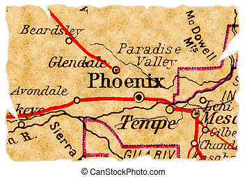 Phoenix old map - Phoenix, Arizona on an old torn map from...