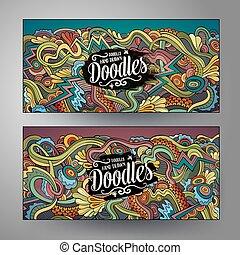 Cartoon cute vector doodles curls, swirls banners
