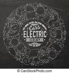 Vector hand drawn set of Electric cars cartoon doodle...
