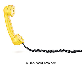 3D rendering of the old telephone handset on white...