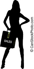 shopping girl - silhouette of a sexy girl with sale shopping...