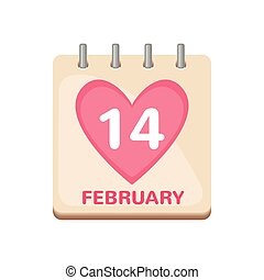 Calendar icon 14 February Valentine's Day isolated on white...