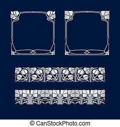 Vector art deco frames and two pattern. - Vector art deco...