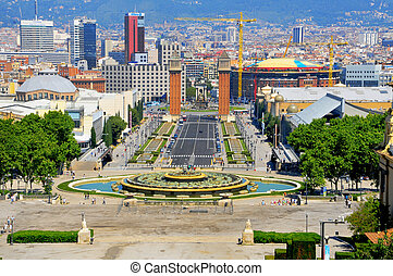 Barcelona, Spain - Aerial view of playa d\'Espanya from...