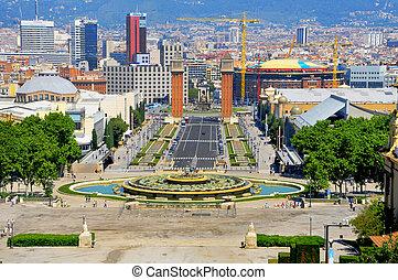 Barcelona, Spain - Aerial view of playa d\'Espanya from...