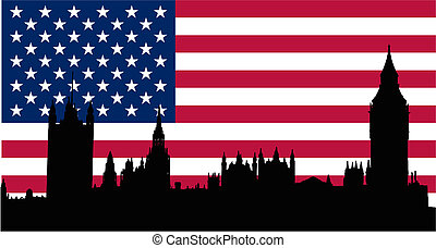 USA flag and houses of the parliament - USA flag houses of...