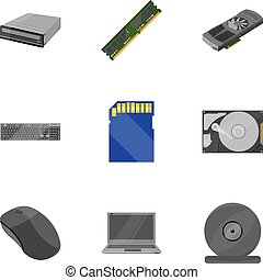 Personal computer set icons in cartoon style. Big collection...