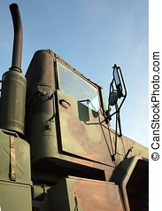 Heavy Duty Army Truck - A large military truck, painted in...