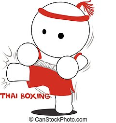 cartoon Thai boxing and kick - cartoon Thai boxing acting...