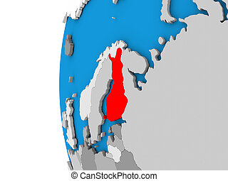 Finland on globe - 3D map of Finland focused in red on...