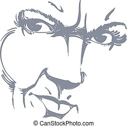 Hand-drawn illustration of woman face, black and white mask...