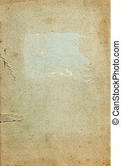 Old torn copybook cover page - Old stained torn copybook...