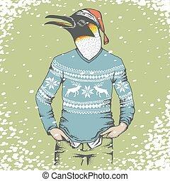 Penguin vector illustration - Christmas penguin vector...