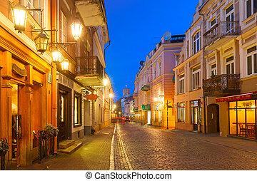 Pilies Street at night, Vilnius, Lithuania - Gediminas Tower...