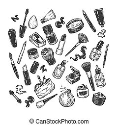 Cosmetics and make-up. - Beauty products and tools. Hand...