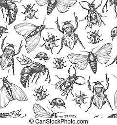 Hand drawn vector pattern with insects in different poses....