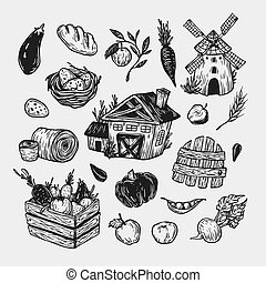 Farm, harvest, vegetables and fruits. - Farming set. Farm,...