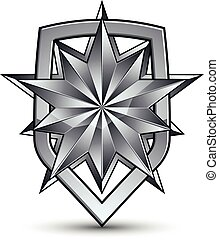 Sophisticated vector blazon with a silver star emblem,...