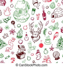 Winter Season. - Hand drawn winter pattern. Christmas...