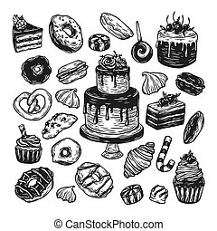 Vector Sweets. - Vector sweets. Set of hand drawn sweets....