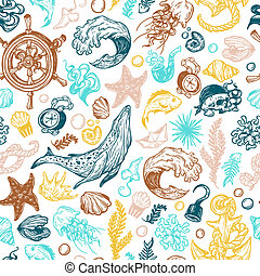 Nautical collection. - Sea pattern. Marine pattern. Nautical...