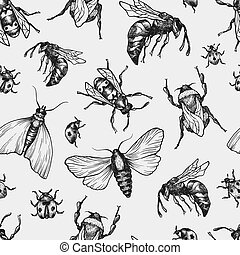 Insects Pattern. - Hand drawn vector pattern with insects in...