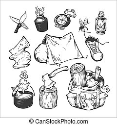 Camping. - Camping and traveling. Hand drawn vector...