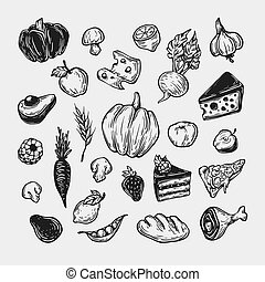 Cooking and kitchen tools. - Food, fruits and vegetables....