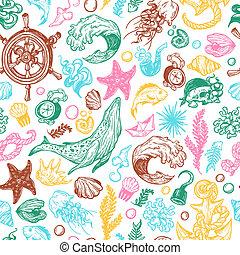 Nautical collection. - Sea pattern. Marine pattern. Nautical...