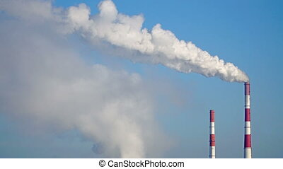 Smoke Emission From industrial Factory Pipe. - Smoke...