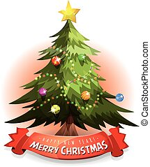 Christmas Tree With Wishes Banner - Illustration of a...