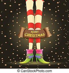 vector christmas cartoon card with elf girls legs - vector...