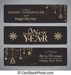 Merry Christmas banners with beads, stars and snowflakes in...