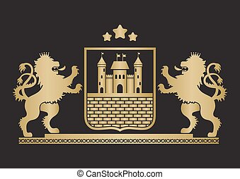 Coat of arms - shield with fortress, brick wall and two...