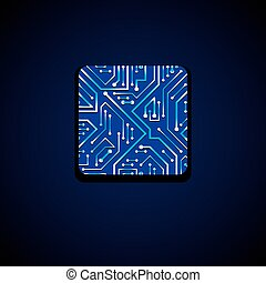 Vector technology cpu design with square blue luminescent...