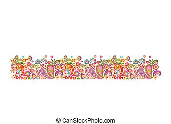 Summery border with decorative colorful flowers print