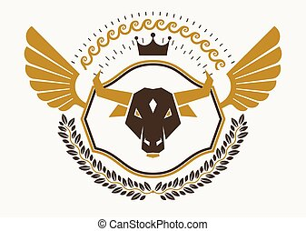 Vintage decorative heraldic vector emblem composed with eagle wings, bull head illustration and imperial crown