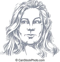 Vector drawing of pensive woman thinking about something. Black and white portrait of attractive still lady.