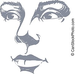 Artistic hand-drawn vector image, black and white portrait...