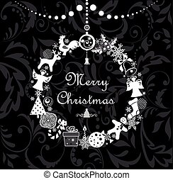 Black and white greeting cartoon with funny christmas wreath