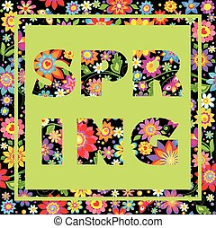 Flowers seamless print with printed spring lettering