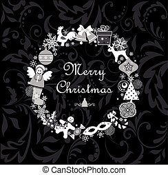 Funny paper applique with christmas wreath