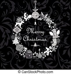 Funny xmas applique with paper hanging toys and snowflakes